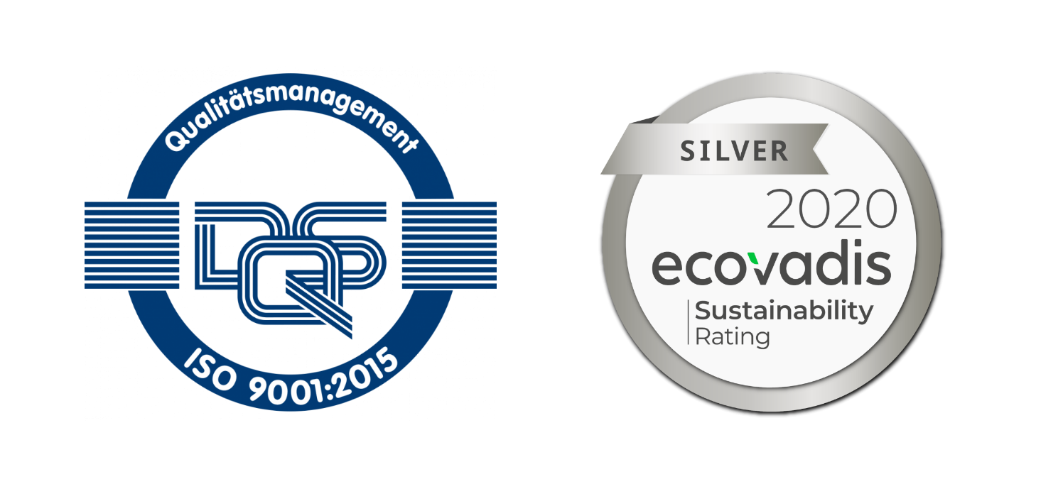 ISO Zertifikat und Ecovadis Silver Sustainabiliy Rating